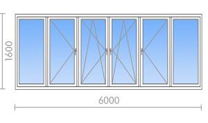 Остекление балконов и лоджий размером 6 метров.