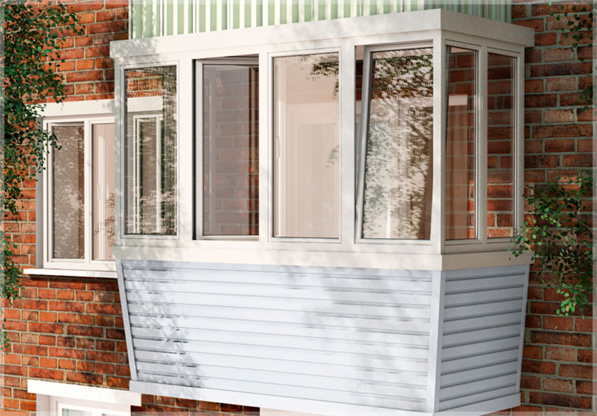 Внешняя отделка балкона сайдингом - цена 1 800 руб./м2 - okn.