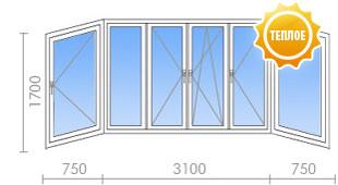 Цена на остекление балкона в ii-29 - 25 100 руб. - okna stre.